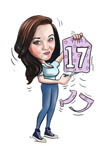 digital_caricature_17th_birthday_girl