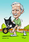 digital_caricature_bowling_dog_cartoon