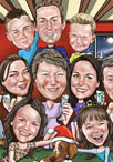 christmas family caricature cartoon portrait