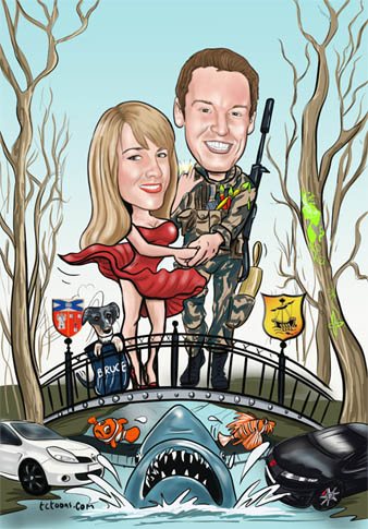 digital_caricature_couple_bridge