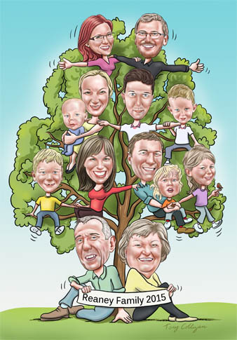 family tree caricature