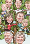 family tree caricature cartoon portrait