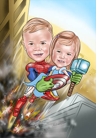 superhero kids caricature