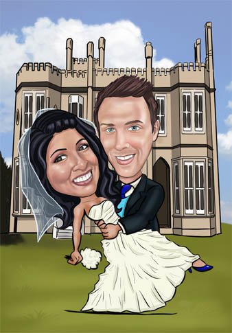 digital_caricature_wedding_mansion_cartoon